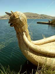 An Uros boat made of reed